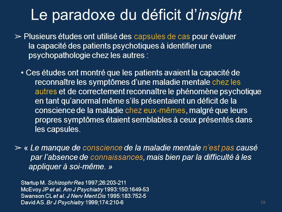 Le paradoxe du déficit d'insight ➢ Plusieurs études ont utilisé des capsules de cas pour évaluer la capacité des patients psychotiques à identifier un
