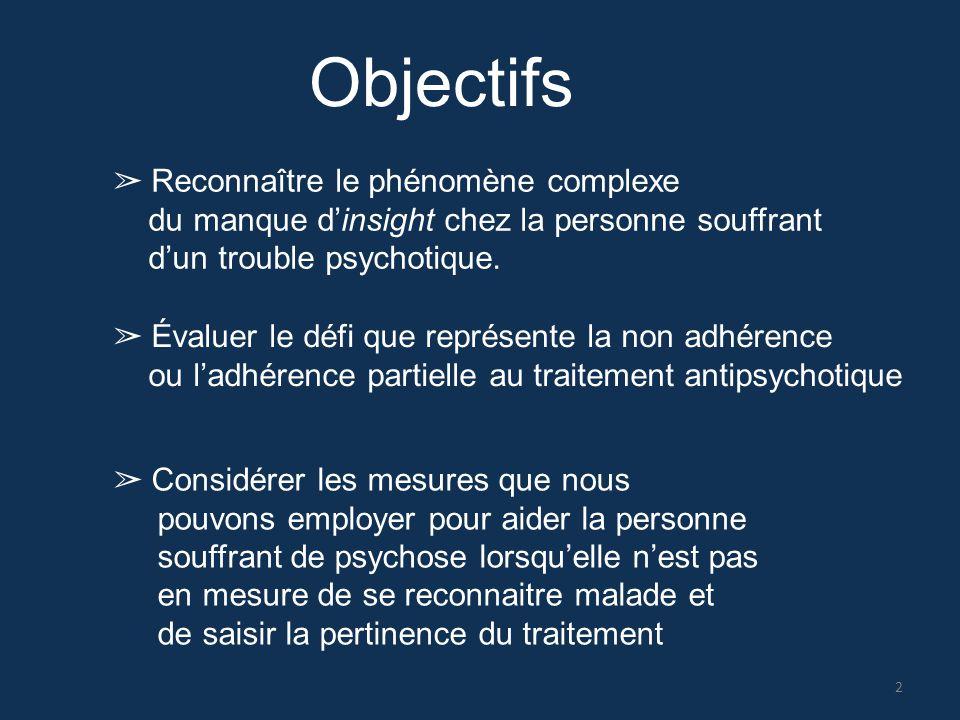 Objectifs ➢ Reconnaître le phénomène complexe du manque d'insight chez la personne souffrant d'un trouble psychotique. ➢ Évaluer le défi que représent