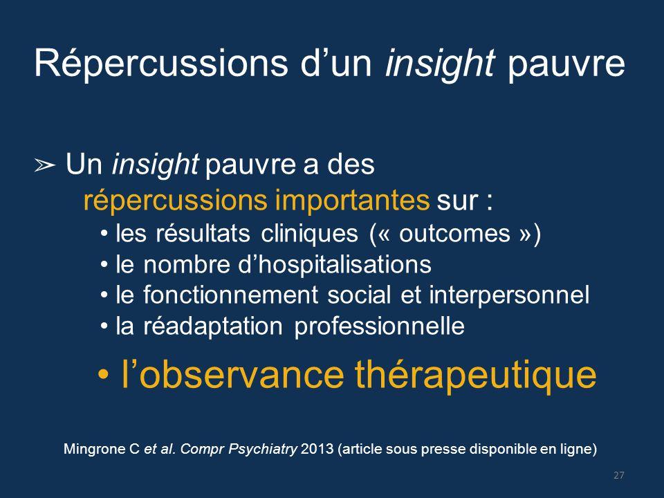 Répercussions d'un insight pauvre ➢ Un insight pauvre a des répercussions importantes sur : les résultats cliniques (« outcomes ») le nombre d'hospita