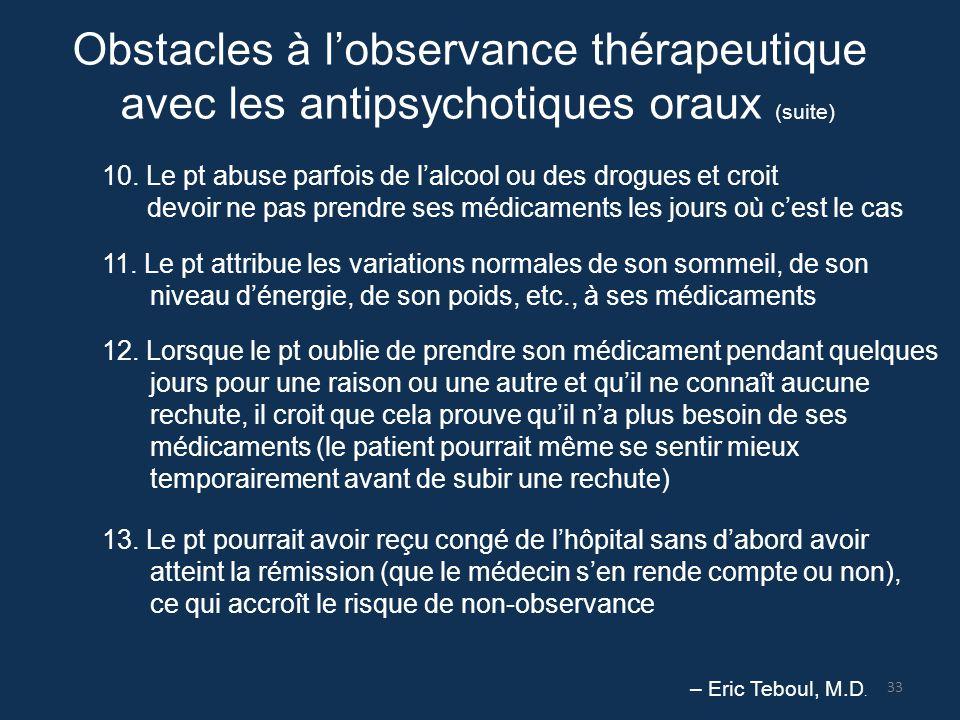 Obstacles à l'observance thérapeutique avec les antipsychotiques oraux (suite) 10. Le pt abuse parfois de l'alcool ou des drogues et croit devoir ne p