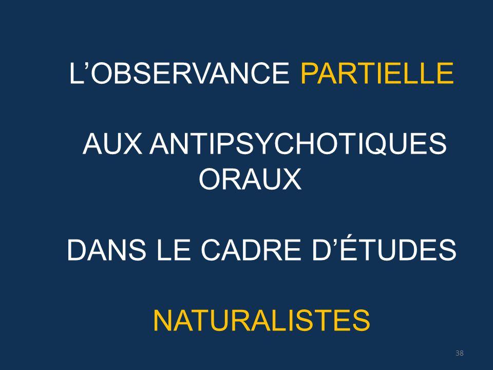 L'OBSERVANCE PARTIELLE AUX ANTIPSYCHOTIQUES ORAUX DANS LE CADRE D'ÉTUDES NATURALISTES 38