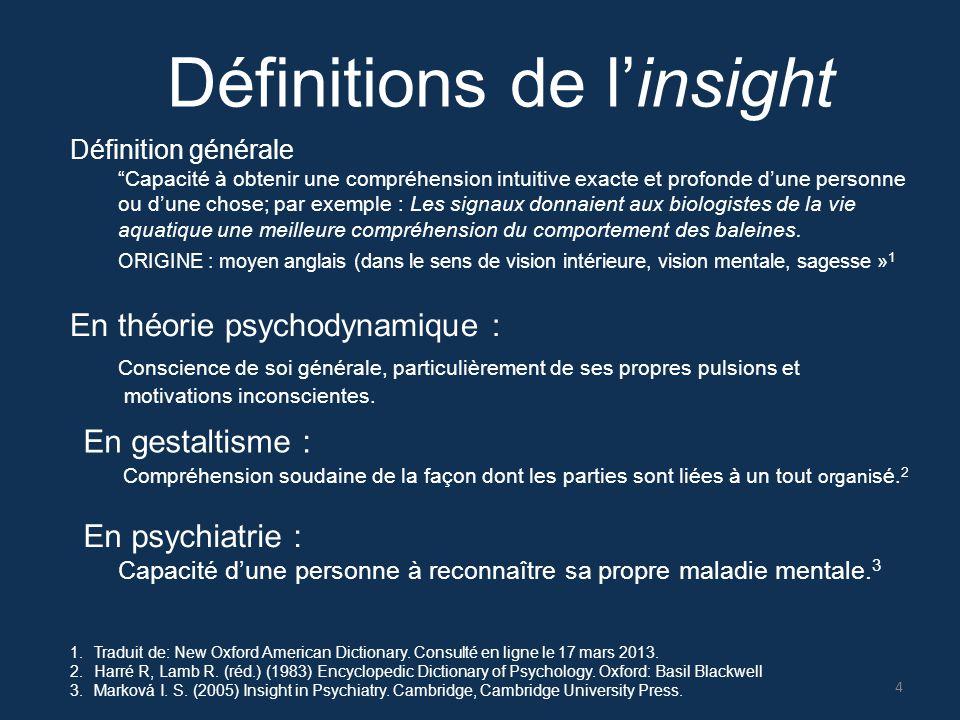 En psychiatrie : Capacité d'une personne à reconnaître sa propre maladie mentale. 3 Définitions de l'insight 1.Traduit de: New Oxford American Diction