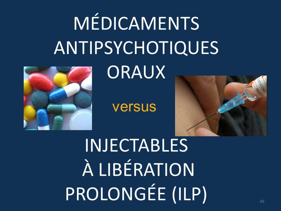 MÉDICAMENTS ANTIPSYCHOTIQUES ORAUX INJECTABLES À LIBÉRATION PROLONGÉE (ILP) versus 49