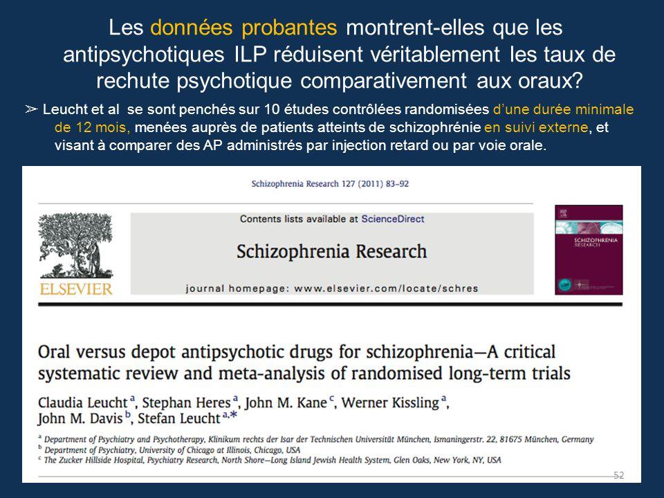 Les données probantes montrent-elles que les antipsychotiques ILP réduisent véritablement les taux de rechute psychotique comparativement aux oraux? ➢