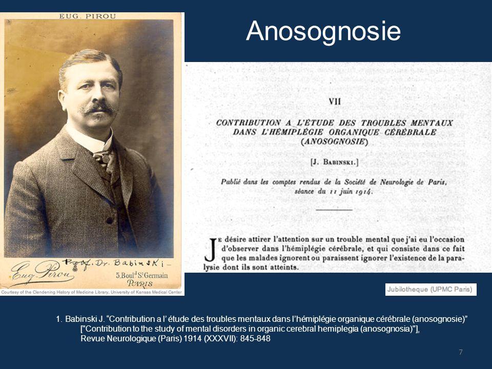 """1. Babinski J. """"Contribution a l' étude des troubles mentaux dans l'hémiplégie organique cérébrale (anosognosie)"""" ["""