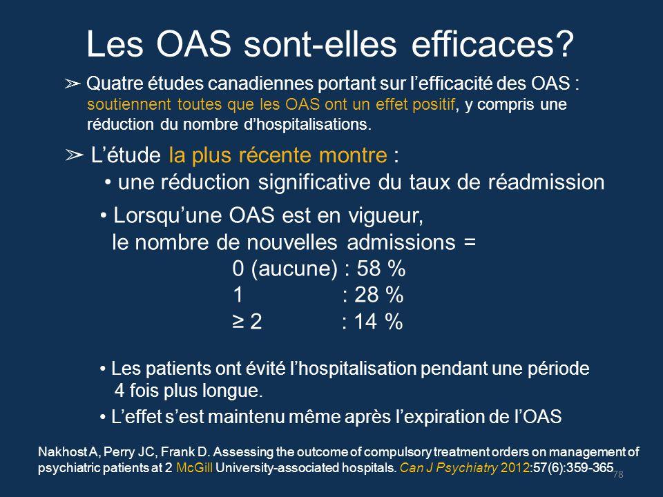 Les OAS sont-elles efficaces? ➢ Quatre études canadiennes portant sur l'efficacité des OAS : soutiennent toutes que les OAS ont un effet positif, y co