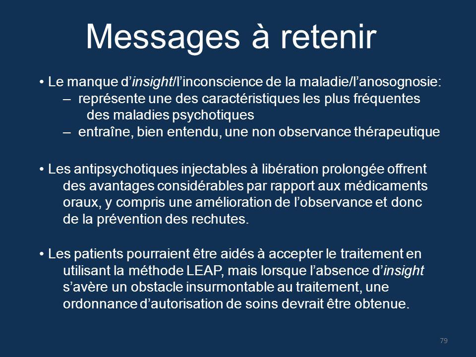 Messages à retenir Le manque d'insight/l'inconscience de la maladie/l'anosognosie: – représente une des caractéristiques les plus fréquentes des malad