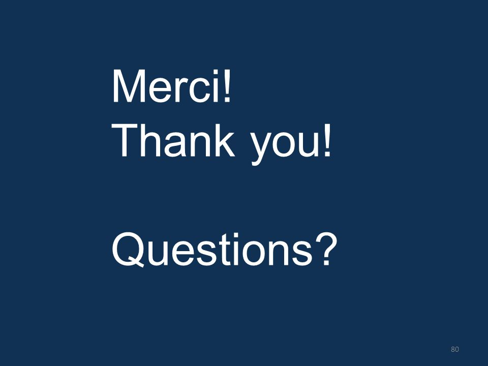 Merci! Thank you! Questions? 80