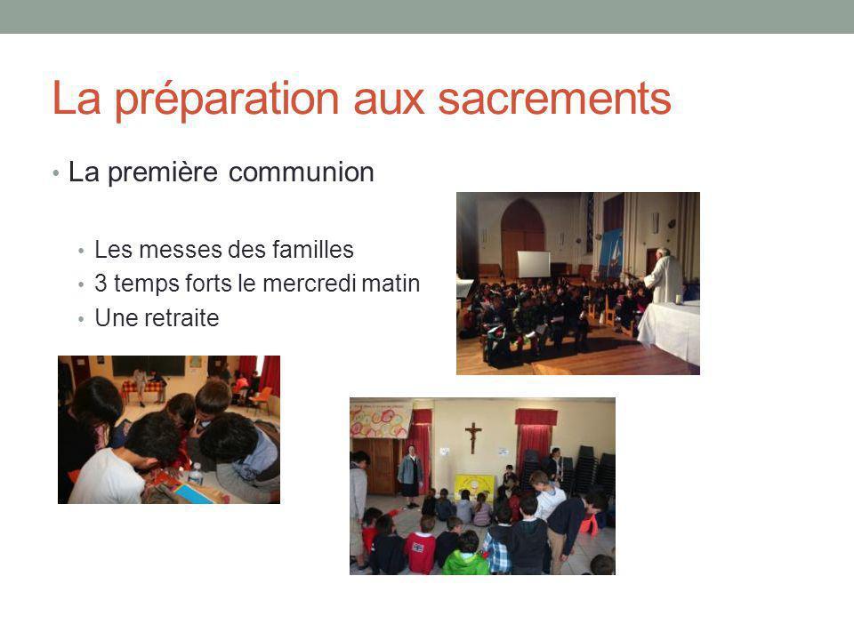 La préparation aux sacrements La première communion Les messes des familles 3 temps forts le mercredi matin Une retraite