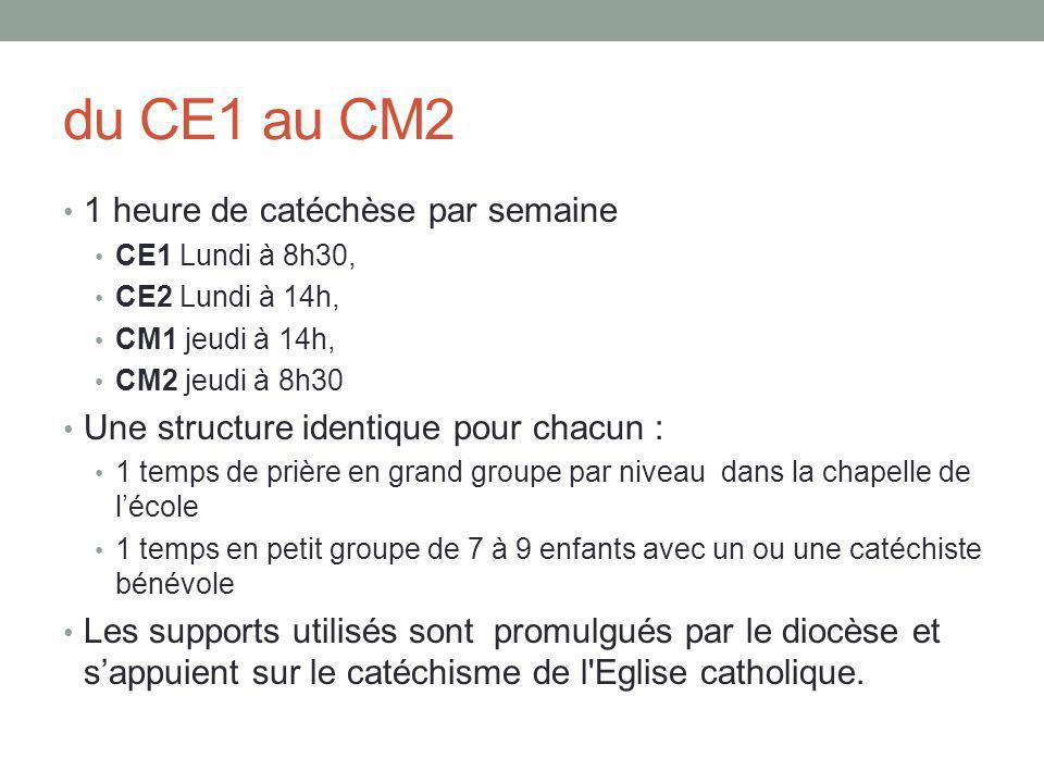 du CE1 au CM2 1 heure de catéchèse par semaine CE1 Lundi à 8h30, CE2 Lundi à 14h, CM1 jeudi à 14h, CM2 jeudi à 8h30 Une structure identique pour chacun : 1 temps de prière en grand groupe par niveau dans la chapelle de l'école 1 temps en petit groupe de 7 à 9 enfants avec un ou une catéchiste bénévole Les supports utilisés sont promulgués par le diocèse et s'appuient sur le catéchisme de l Eglise catholique.