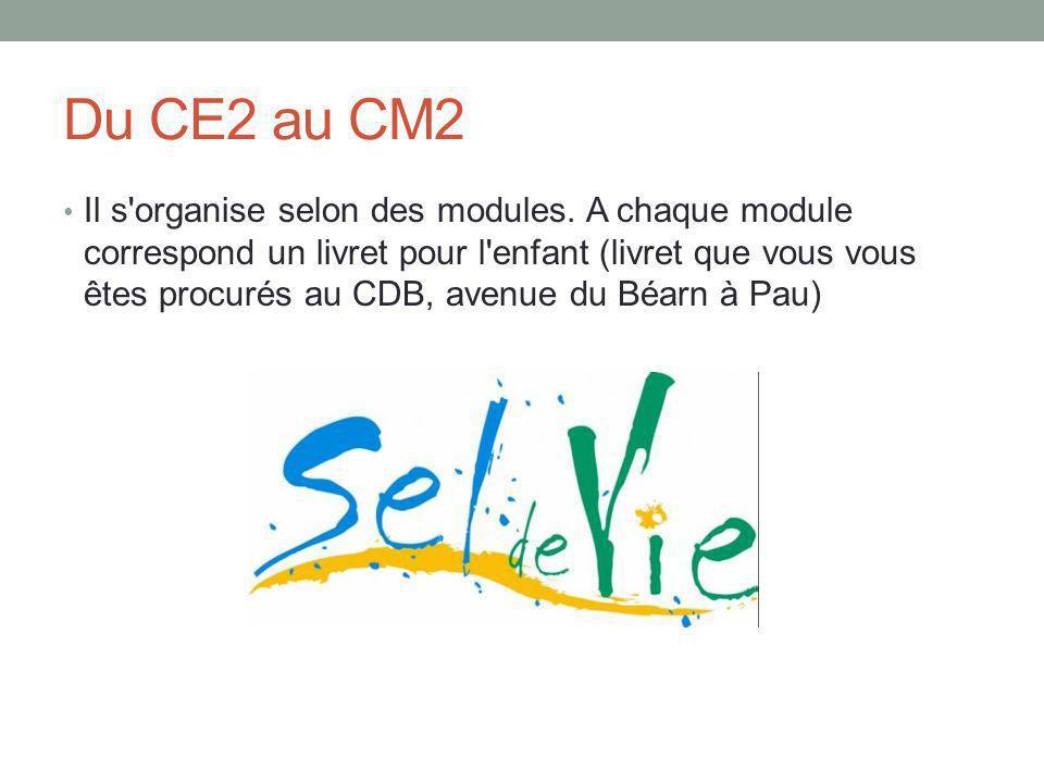 Du CE2 au CM2 Il s organise selon des modules.