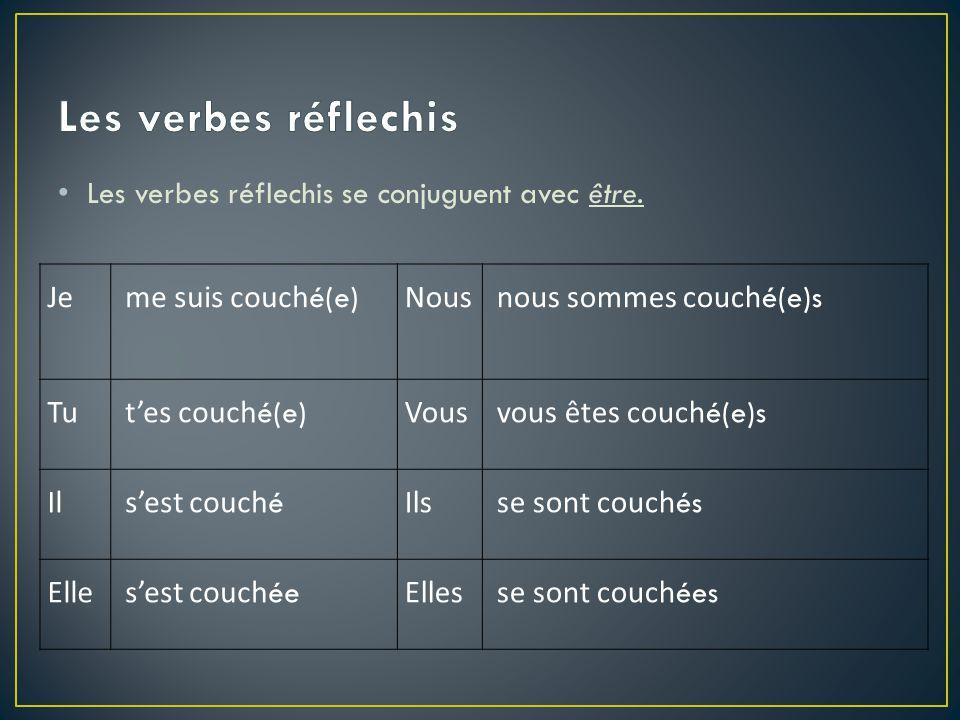 -er: éparler--parlé -ir: ifinir-fini -re: uperdre-perdu mettre: mis boot verbs: don't change spelling !