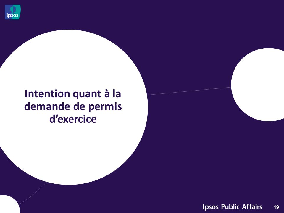 Intention quant à la demande de permis d'exercice 19