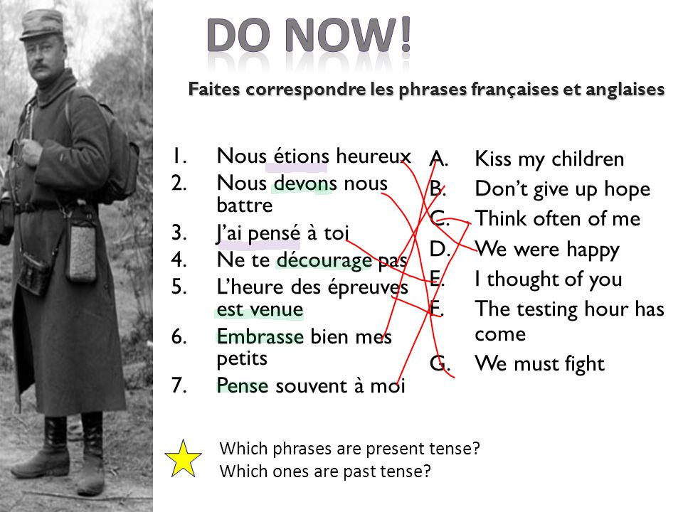 Les devoirs: vendredi 14 juin Create your own propaganda poster using the examples on student share French/WW1 French/Y9 lesson 7 propaganda posters Criteria:  A4 poster with image(s)  slogan in French & bring redrafted character profiles
