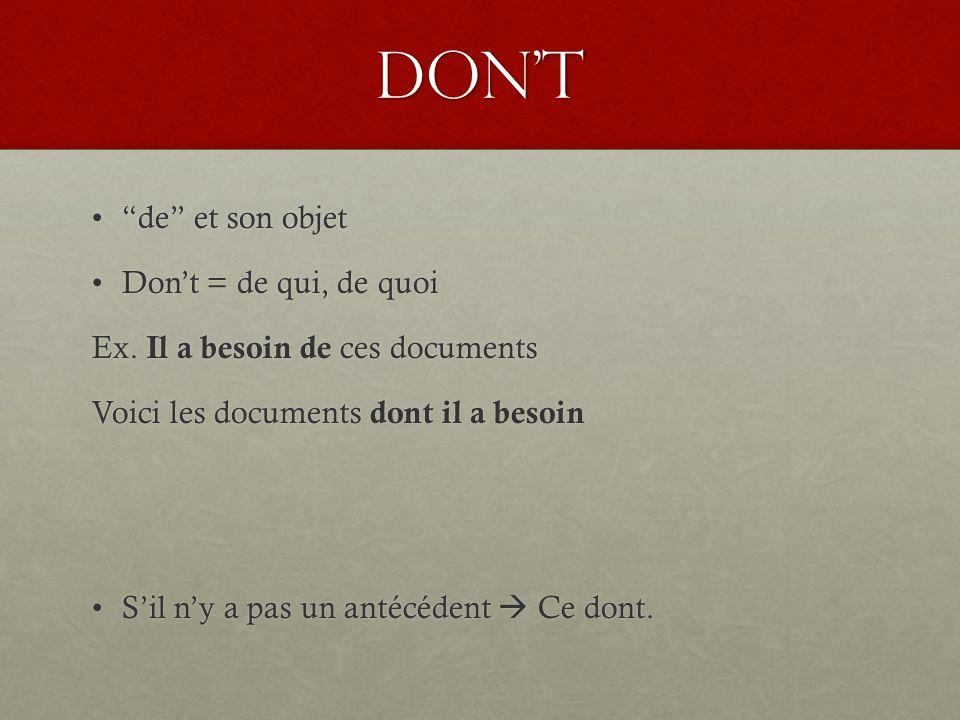Don't de et son objet de et son objet Don't = de qui, de quoiDon't = de qui, de quoi Ex.