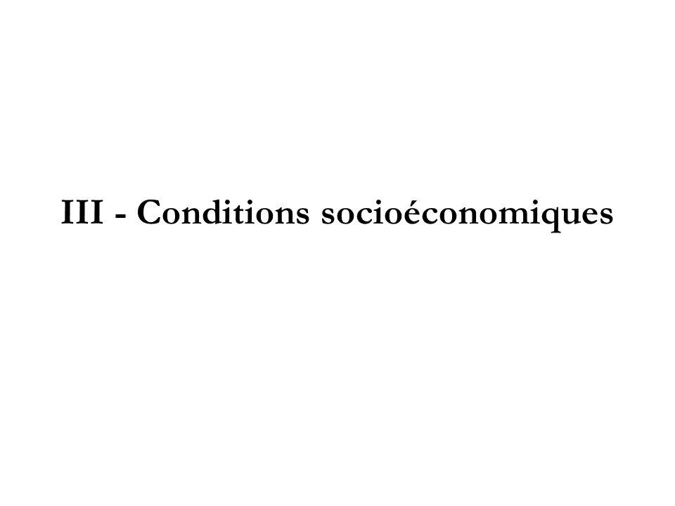 III - Conditions socioéconomiques