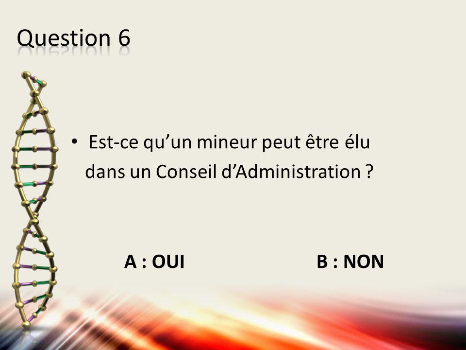 Est-ce qu'un mineur peut être élu dans un Conseil d'Administration ? A : OUI B : NON