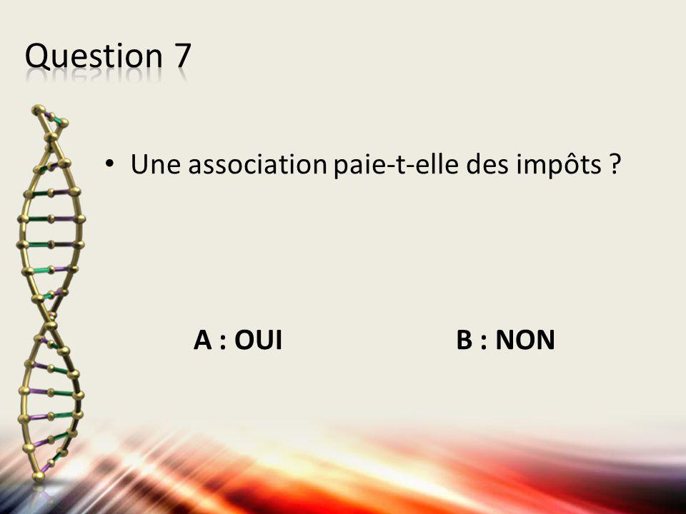 Une association paie-t-elle des impôts ? A : OUI B : NON