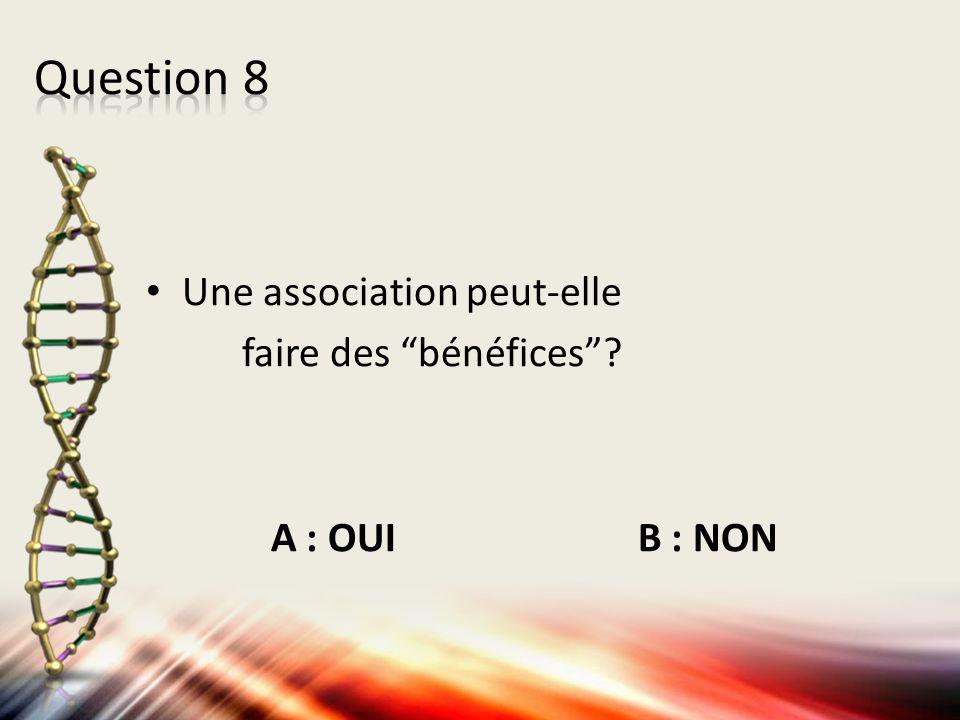 """Une association peut-elle faire des """"bénéfices""""? A : OUI B : NON"""