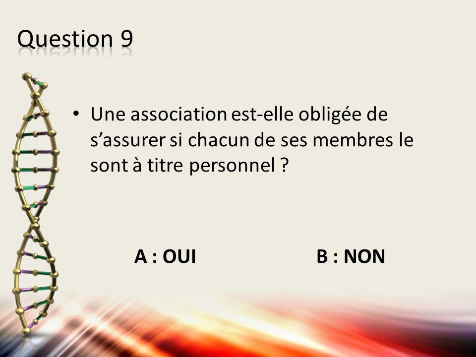 Une association est-elle obligée de s'assurer si chacun de ses membres le sont à titre personnel ? A : OUI B : NON