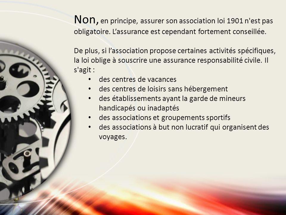 Non, en principe, assurer son association loi 1901 n'est pas obligatoire. L'assurance est cependant fortement conseillée. De plus, si l'association pr