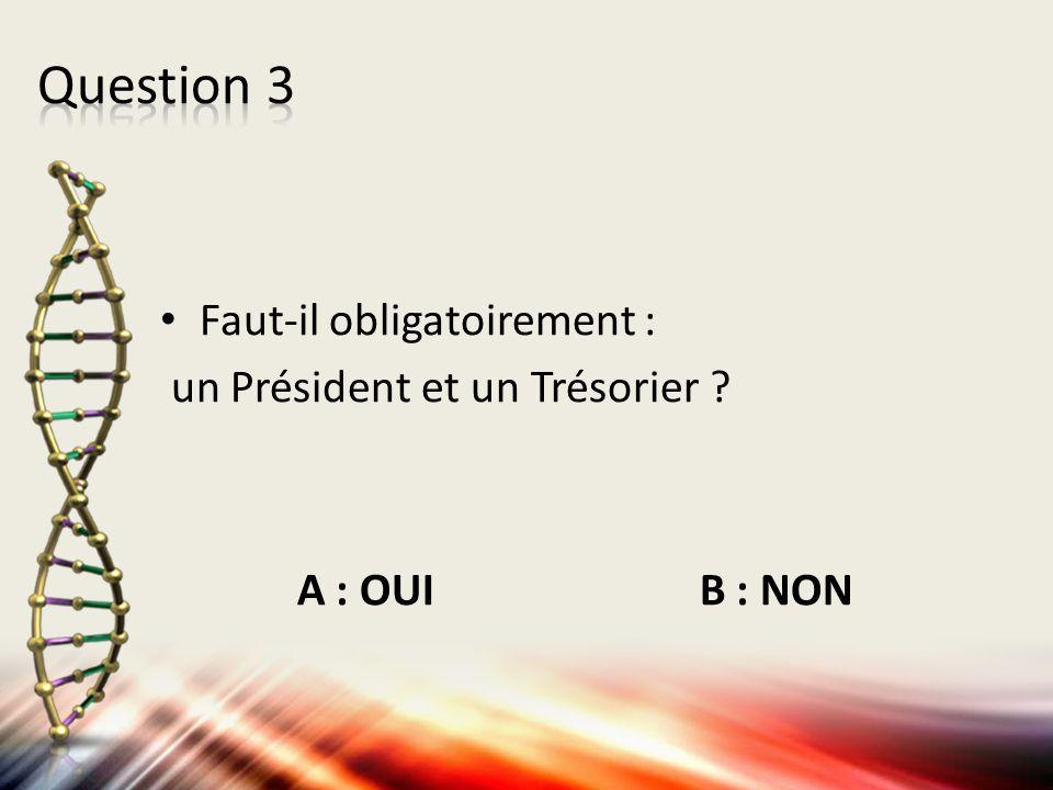 Faut-il obligatoirement : un Président et un Trésorier ? A : OUI B : NON