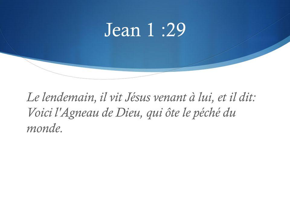 Jean 1 :29 Le lendemain, il vit Jésus venant à lui, et il dit: Voici l'Agneau de Dieu, qui ôte le péché du monde.