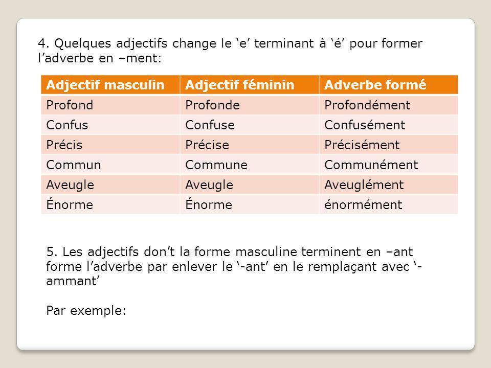 4. Quelques adjectifs change le 'e' terminant à 'é' pour former l'adverbe en –ment: Adjectif masculinAdjectif fémininAdverbe formé ProfondProfondeProf