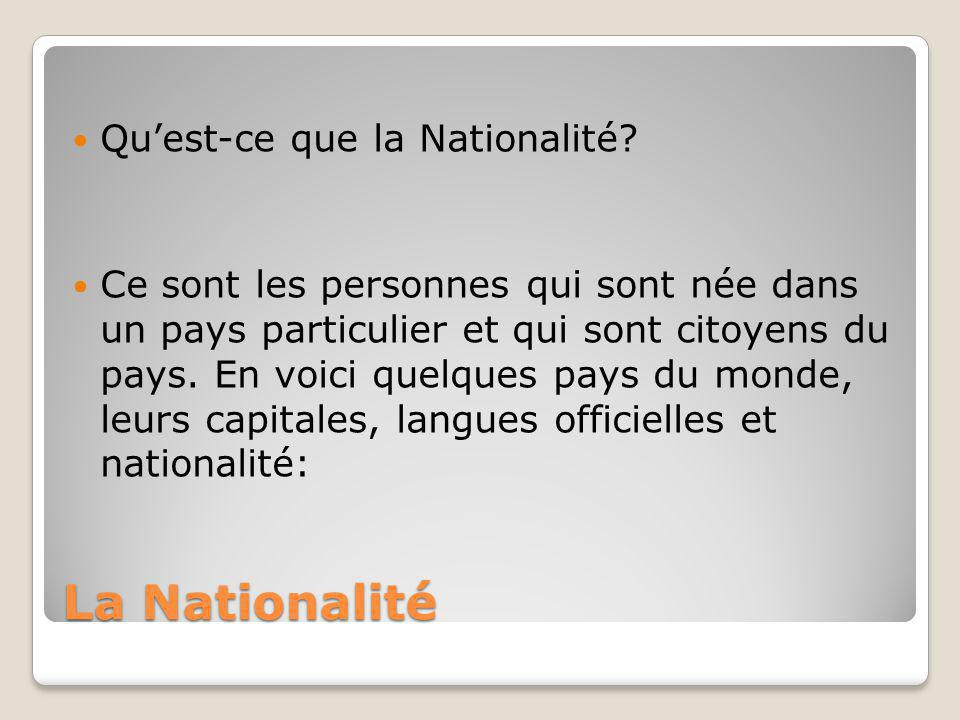 La Nationalité Qu'est-ce que la Nationalité? Ce sont les personnes qui sont née dans un pays particulier et qui sont citoyens du pays. En voici quelqu