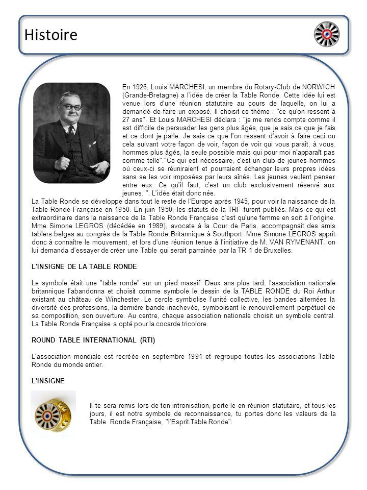 Histoire En 1926, Louis MARCHESI, un membre du Rotary-Club de NORWICH (Grande-Bretagne) a l'idée de créer la Table Ronde. Cette idée lui est venue lor