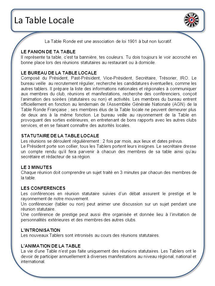 La Table Locale La Table Ronde est une association de loi 1901 à but non lucratif. LE FANION DE TA TABLE Il représente ta table, c'est ta bannière, te