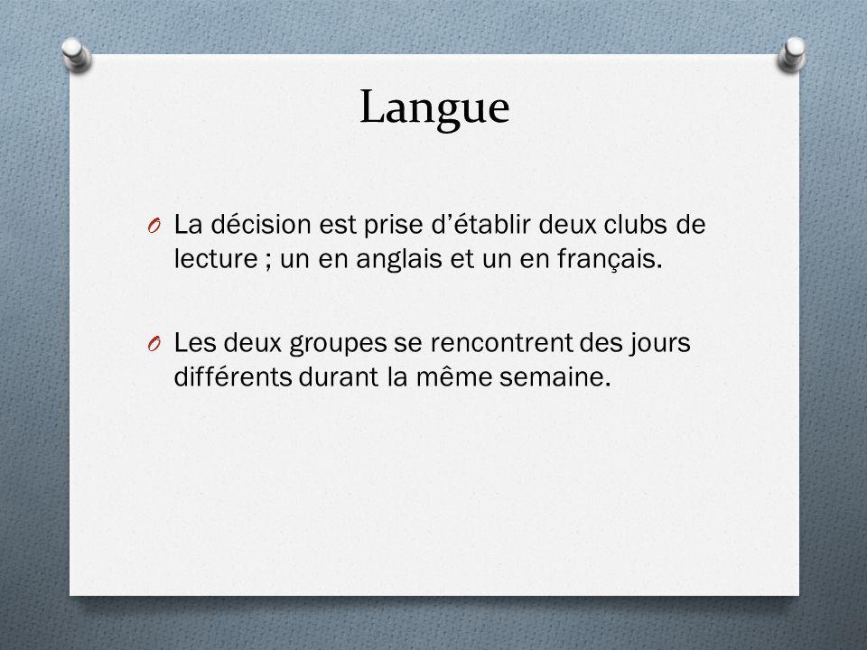 Langue O La décision est prise d'établir deux clubs de lecture ; un en anglais et un en français. O Les deux groupes se rencontrent des jours différen