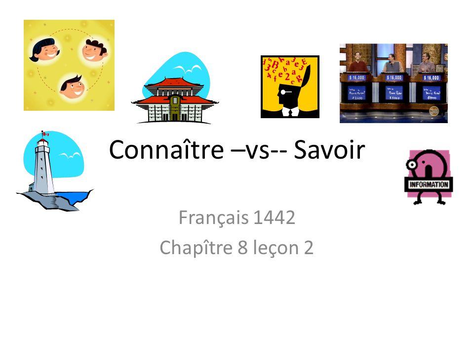 Connaître –vs-- Savoir Français 1442 Chapître 8 leçon 2