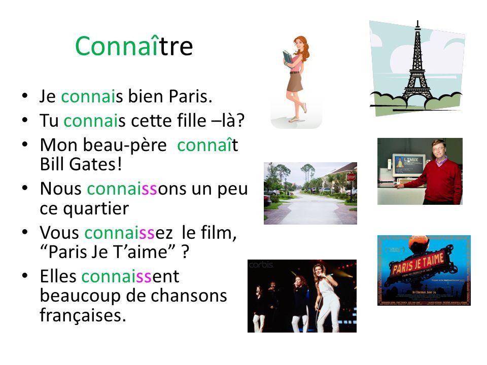 Connaître Je connais bien Paris. Tu connais cette fille –là.