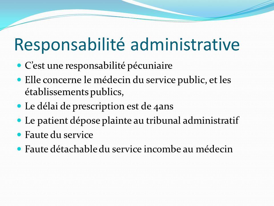 Responsabilité disciplinaire Tout médecin quel que soit son mode d'exercice C'est une responsabilité sanction à toute infraction aux règles de déontologie Il n'y a pas de délai de prescription Le patient s'oriente vers le conseil régional de l'ordre des medecins