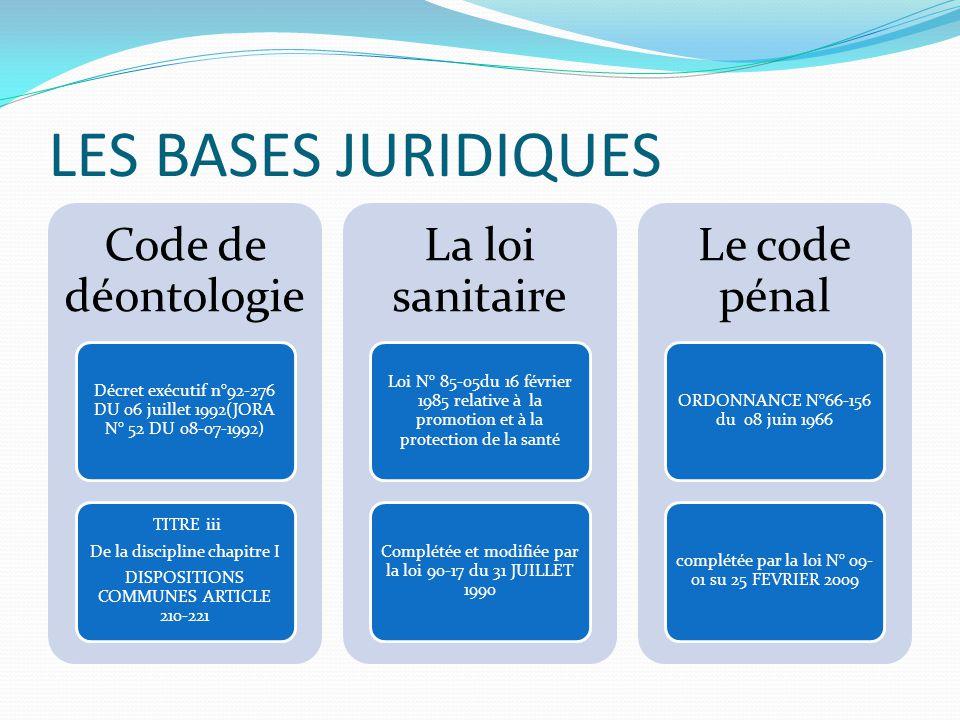 Les dispositions pénales (LRPPS) Art 234 l'exercice illégal de la médecine, tel que défini aux articles 214 ET 219.