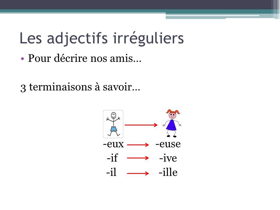 Les adjectifs irréguliers -EUX Aventureux Ambitieux Curieux -EUSE Aventureuse Ambitieuse Curieuse