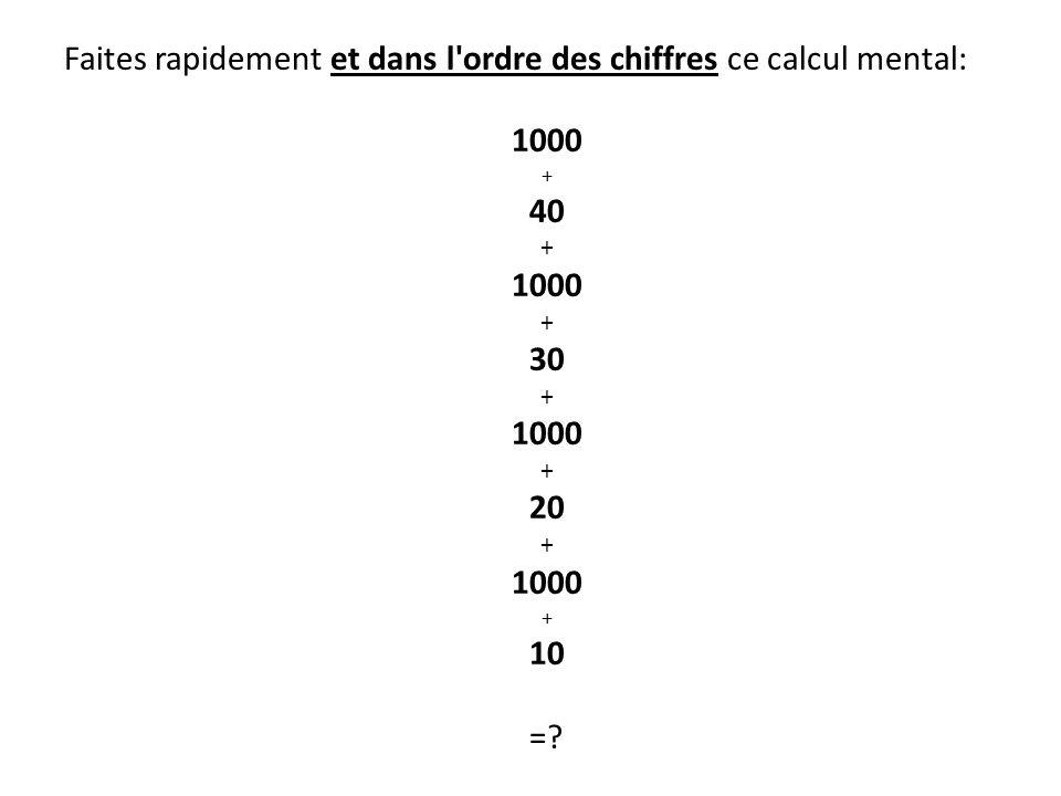 Faites rapidement et dans l'ordre des chiffres ce calcul mental: 1000 + 40 + 1000 + 30 + 1000 + 20 + 1000 + 10 =?