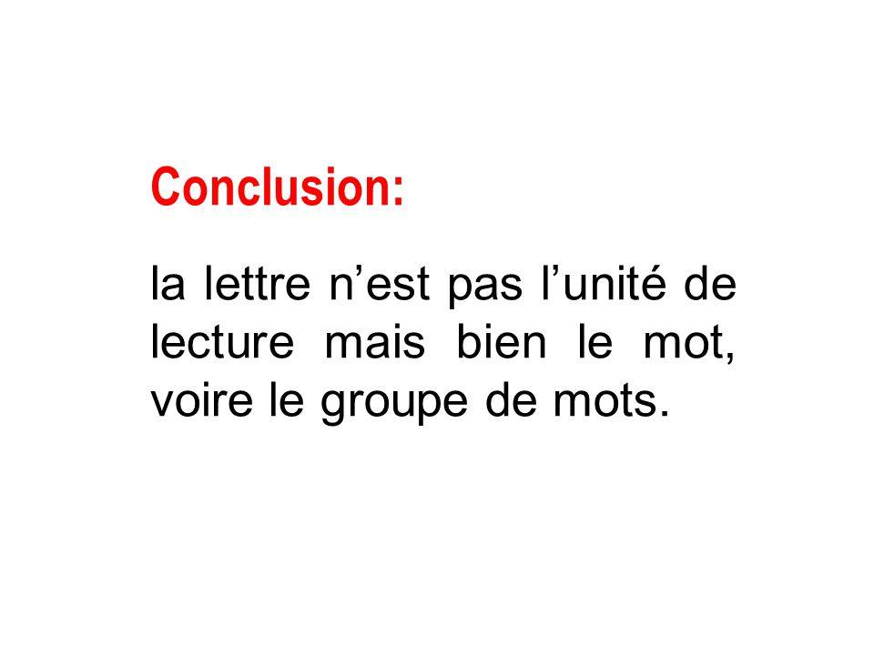 Conclusion: la lettre n'est pas l'unité de lecture mais bien le mot, voire le groupe de mots.