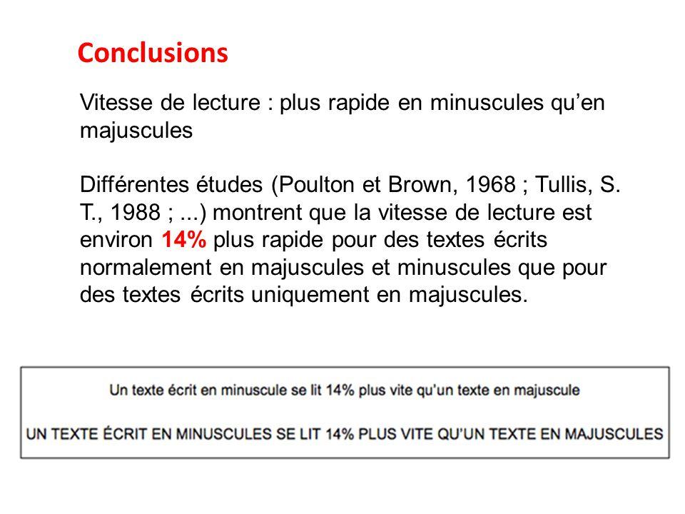 Vitesse de lecture : plus rapide en minuscules qu'en majuscules Différentes études (Poulton et Brown, 1968 ; Tullis, S. T., 1988 ;...) montrent que la
