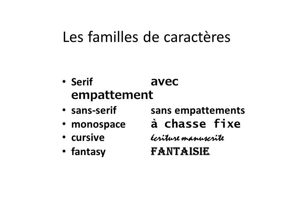 Les familles de caractères Serif avec empattement sans-serif sans empattements monospace à chasse fixe cursive écriture manuscrite fantasy fantaisie