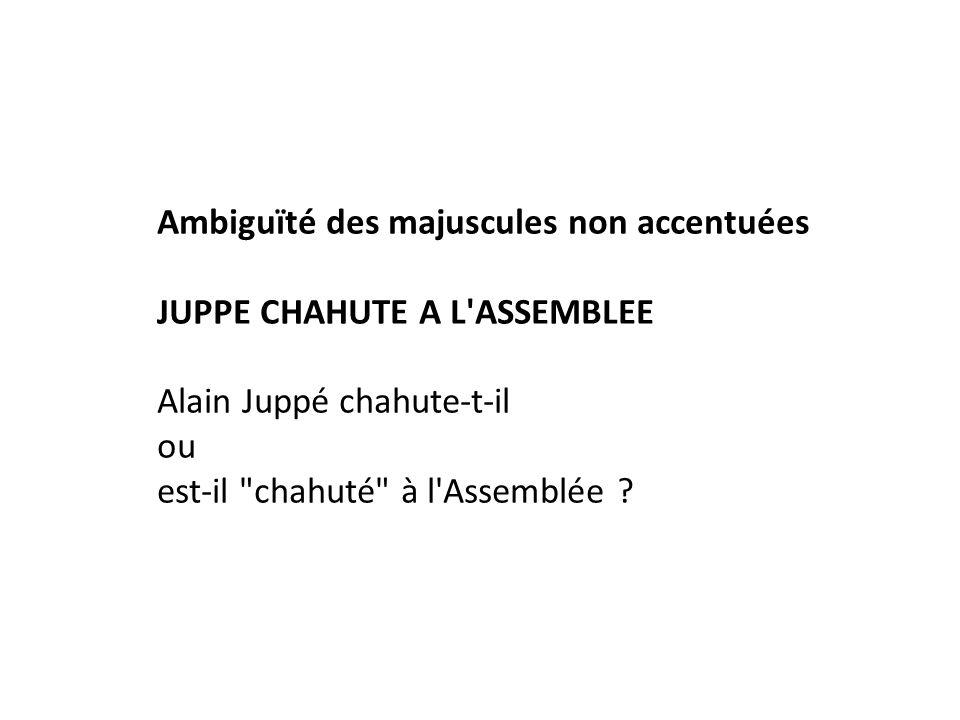 Ambiguïté des majuscules non accentuées JUPPE CHAHUTE A L'ASSEMBLEE Alain Juppé chahute-t-il ou est-il