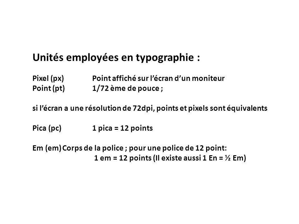 Unités employées en typographie : Pixel (px)Point affiché sur l'écran d'un moniteur Point (pt)1/72 ème de pouce ; si l'écran a une résolution de 72dpi