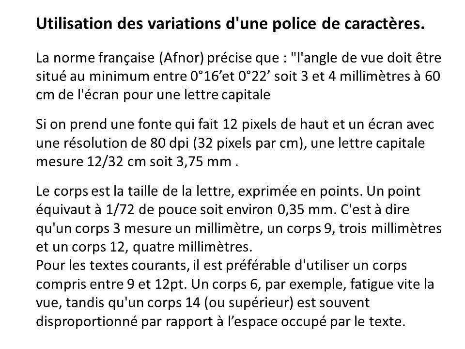Utilisation des variations d'une police de caractères. La norme française (Afnor) précise que :