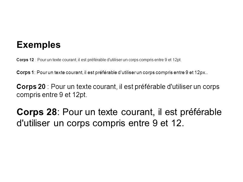 Exemples Corps 12 : Pour un texte courant, il est préférable d'utiliser un corps compris entre 9 et 12pt. Corps 1: Pour un texte courant, il est préfé