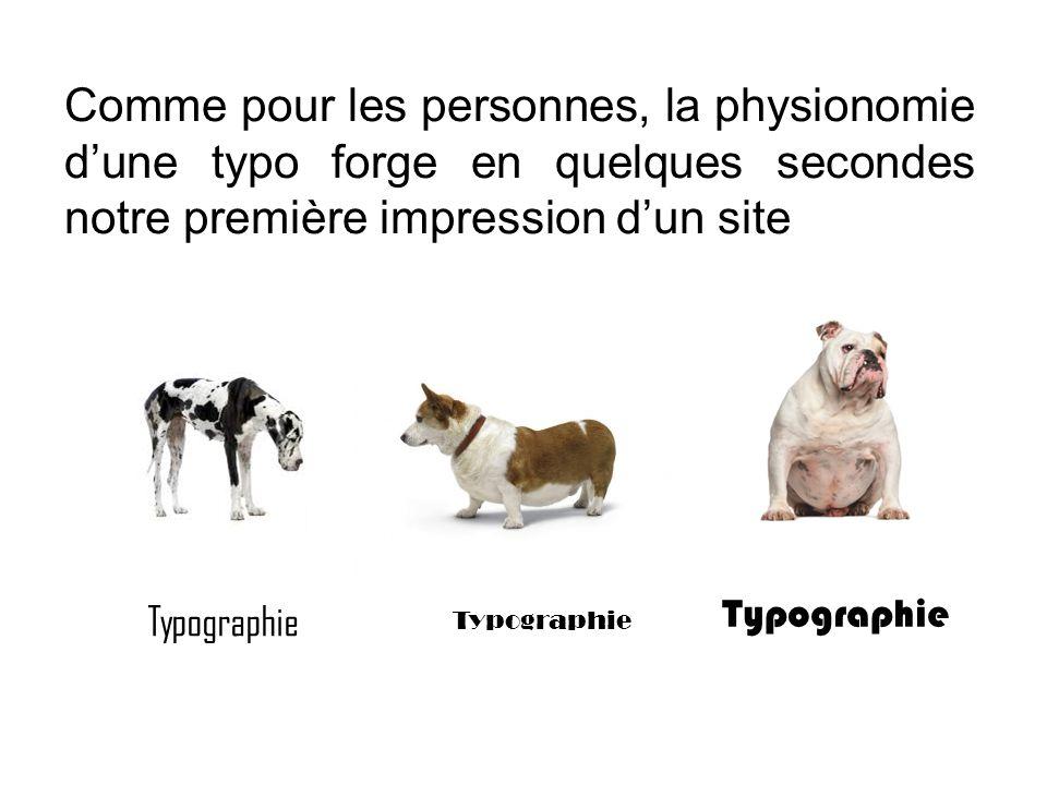 Comme pour les personnes, la physionomie d'une typo forge en quelques secondes notre première impression d'un site Typographie