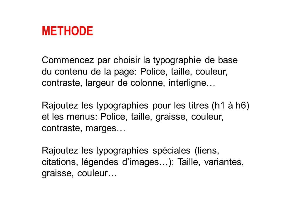 METHODE Commencez par choisir la typographie de base du contenu de la page: Police, taille, couleur, contraste, largeur de colonne, interligne… Rajout