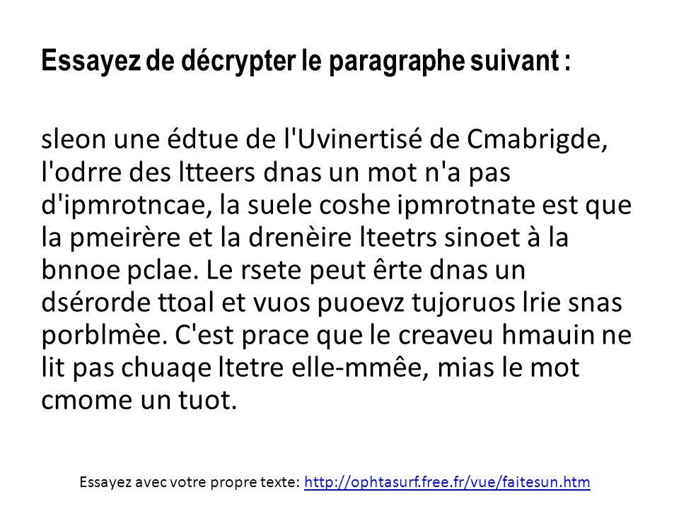 Essayez de décrypter le paragraphe suivant : sleon une édtue de l'Uvinertisé de Cmabrigde, l'odrre des ltteers dnas un mot n'a pas d'ipmrotncae, la su