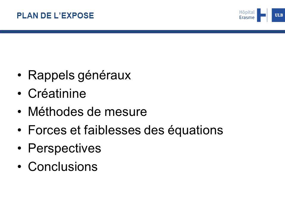 PLAN DE L'EXPOSE Rappels généraux Créatinine Méthodes de mesure Forces et faiblesses des équations Perspectives Conclusions