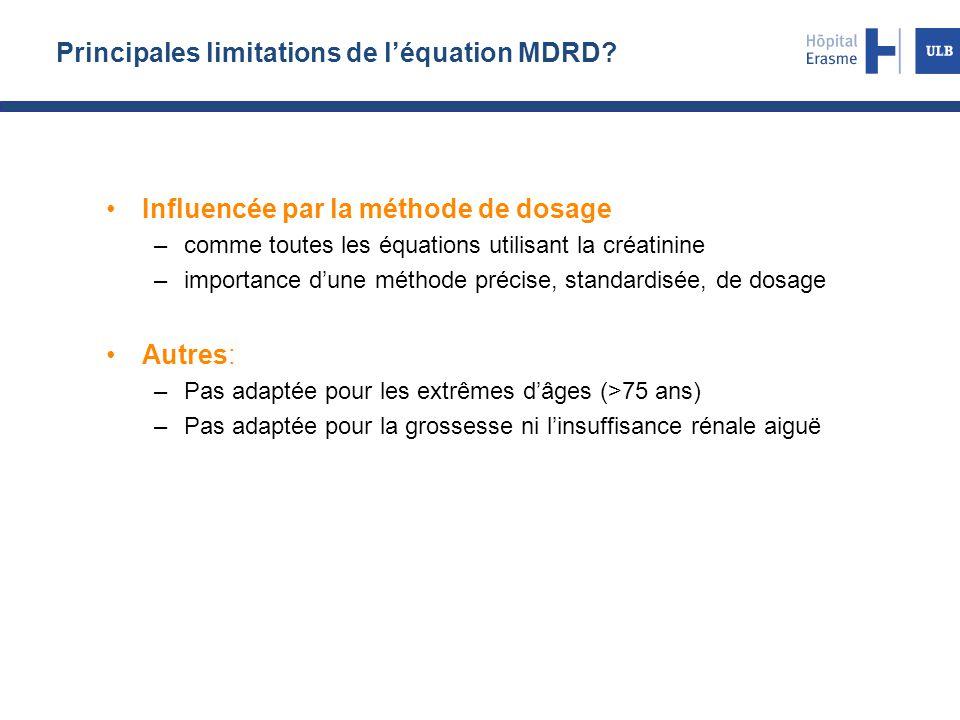 Principales limitations de l'équation MDRD? Influencée par la méthode de dosage –comme toutes les équations utilisant la créatinine –importance d'une